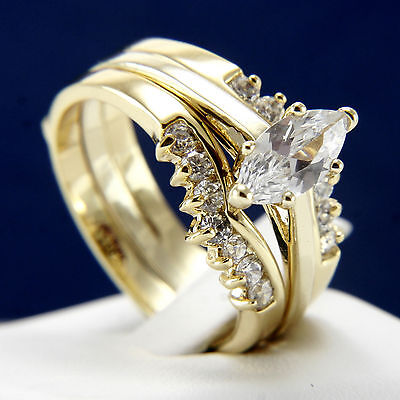 Fashion Diamonique CZ Gold Plated Engagement Wedding 2pc Ring Set