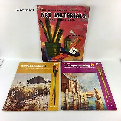 Acrylic Painting Beginners - (LOT OF 3) Acrylic/ Seascape Painting/The Beginners Guide art instruction Book.