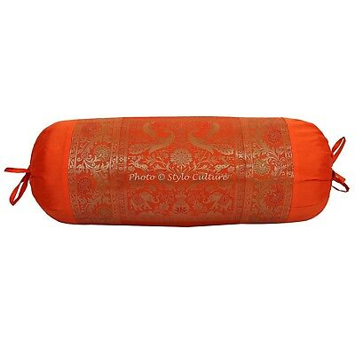Indian Handmade Silk Bolster Cover Pillow Throw Cylinder Cushion Cover Home -