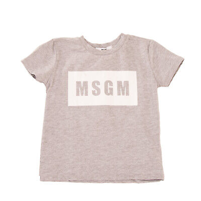 MSGM KIDS T-Shirt Top Size 8Y Melange Effect Two Tone Logo Print Made in Italy