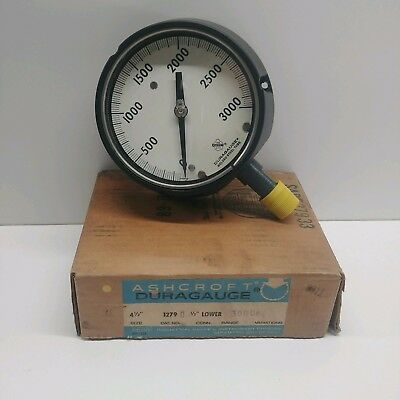 New Old Stock Ashcroft 0-3000 4-12 Pressure Gauge 45-1297d