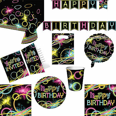Glow Stick Neon Party Happy Birthday Tableware, Invitations And Decorations  - Glow Stick Decorations