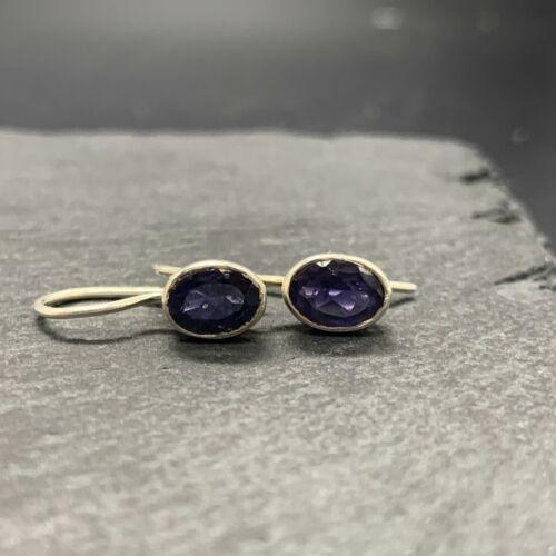 Vintage 925 Sterling Silver Drop Earrings with Purple Glass