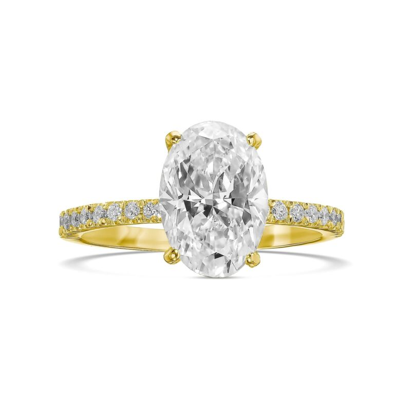 1.50 Ct Oval Cut Diamond Engagement Hidden Halo Ring F Si1 14k Yellow Gold