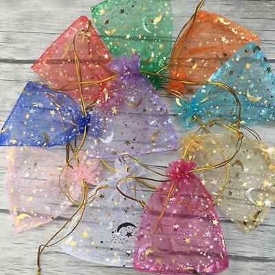 100 Moon Star Organza Gift Bags Wedding Jewelry Drawstring Party Pouches