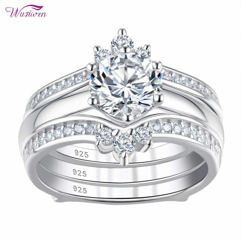 Wuziwen Wedding Engagement Ring Set Guard Enhancers Aaaaa Cz 925 Sterling Silver