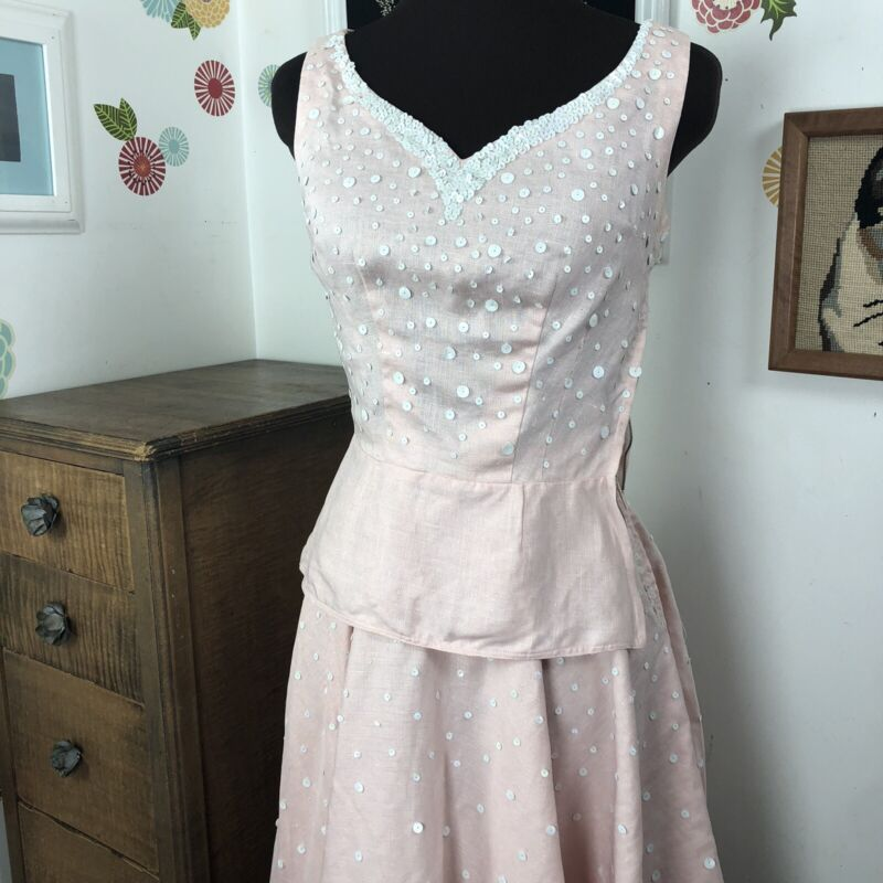 Vintage Sequined Skirt & Top Set PROJECT 1950s Pink Linen Outfit Sleeveless XS