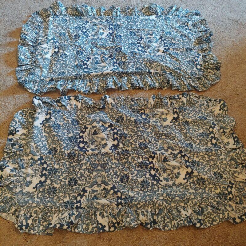 Pair Ralph Lauren Tamarind Blue Porcelain Bird KING RUFFLE Pillow SHAMS Set/ 2