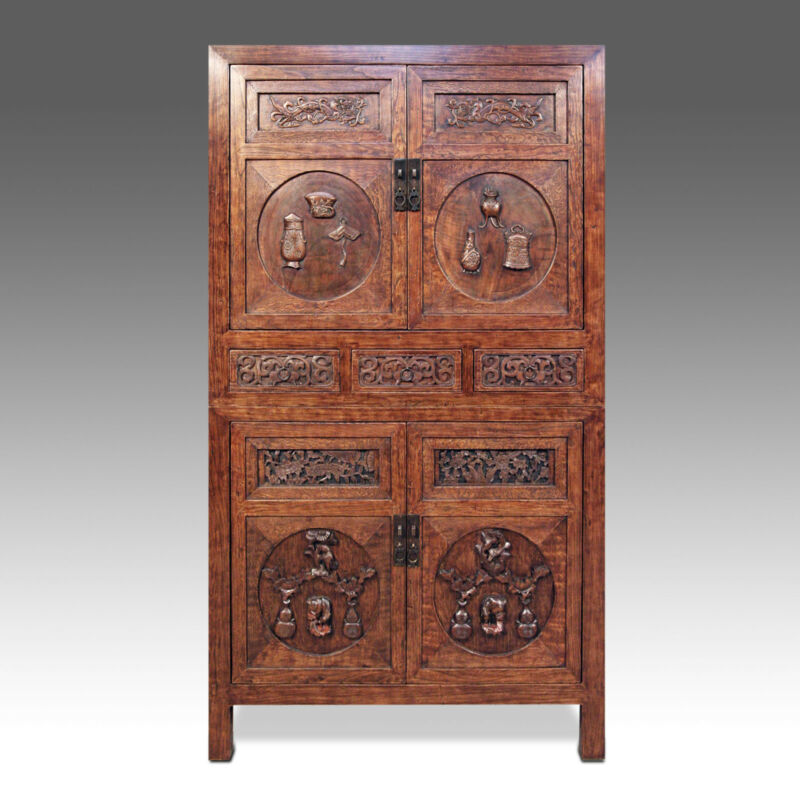 FINE ANTIQUE CHINESE QING DYNASTY HEBEI YING WOOD CARVINGS COMPOUND CABINET