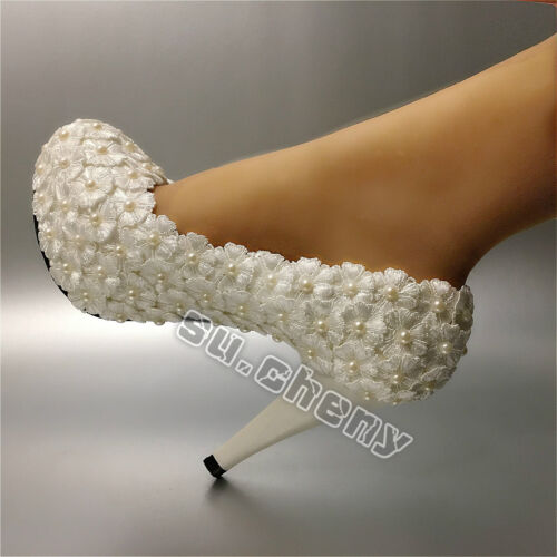 su.cheny -Lace white ivory crystal flats low high heel pump Wedding Bridal shoes