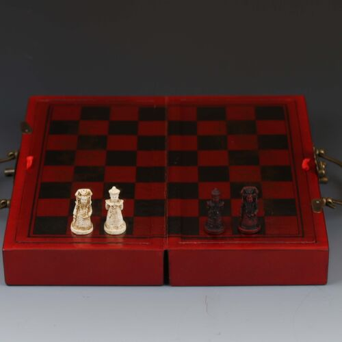 Chinese Antique Handwork Portrait Chess&Wooden Box