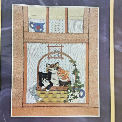 """Sunset Stitchery Kittens In The Window 2558 Embroidery Kit Stamped 11"""" x 14"""" Cat"""