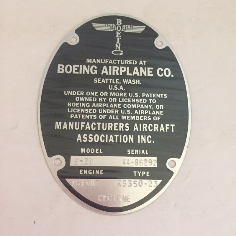 Boeing Airplane Co B-29 Bomber Metal Manufacturers Plate Wright Engine Cyclone
