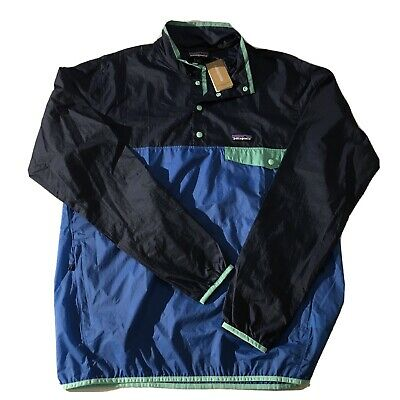 NWT Patagonia Windbreaker Jacket Port Blue Houdini Snap-T Pullover Lightweight M