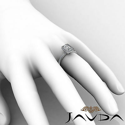 Halo Emerald Diamond Vinatge Engagement Ring GIA Certified H SI1 Platinum 2 ct 5