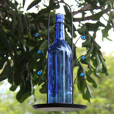 FREE SHIPPING ~ NEW Bird Seed Feeder Blue Glass Wine Bottle ~ Great Gift