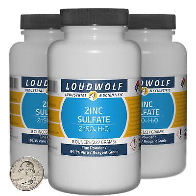 Zinc Sulfate 1.5 Pounds 3 Bottles 99.3 Pure Reagent Grade Fine Powder