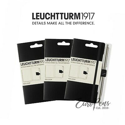 Pack Of 3 - Leuchtturm 1917 Pen Loop Pencil Holder For Notebooks - Black 304637