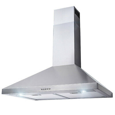 "30"" Wall Mount Stainless Steel Push Panel Kitchen Range Hood Cooking Fan"