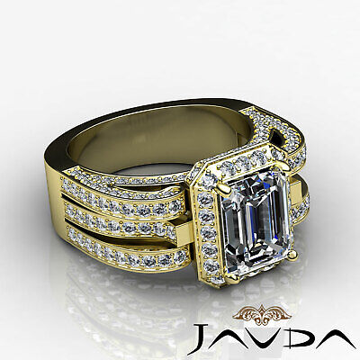 3 Row Shank Radiant Diamond Engagement Pave Ring GIA G Color SI1 Clarity 2.7 Ct 8