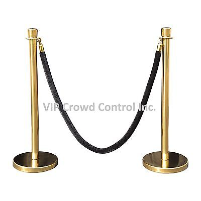 ROPE STANCHION, 2 TAPER POSTS, GOLD POLISHED & 1 ROPE