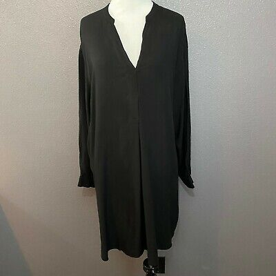 H&M Women's Size 6 Black Low V Neck Long Sleeve Tunic Top Dress Above Knee