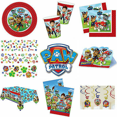 PAW PATROL BIRTHDAY PARTY SUPPLIES TABLEWARE INVITATIONS PLATES CUPS CONFETTI