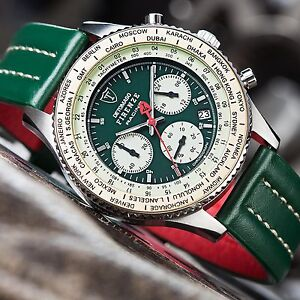 DETOMASO Firenze Racing Green Chronograph Mens Watch Stainless Steel 10 ATM New
