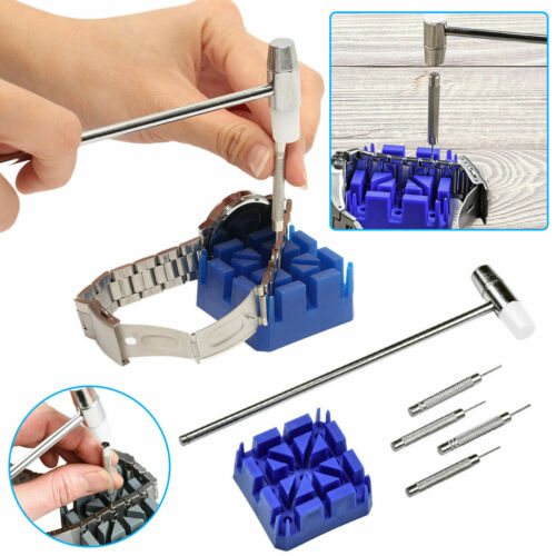 Watch Band Pin Link Remover 6PCS Tool Set Removal Kit Hammer Punch Holder Repair Jewelry & Watches
