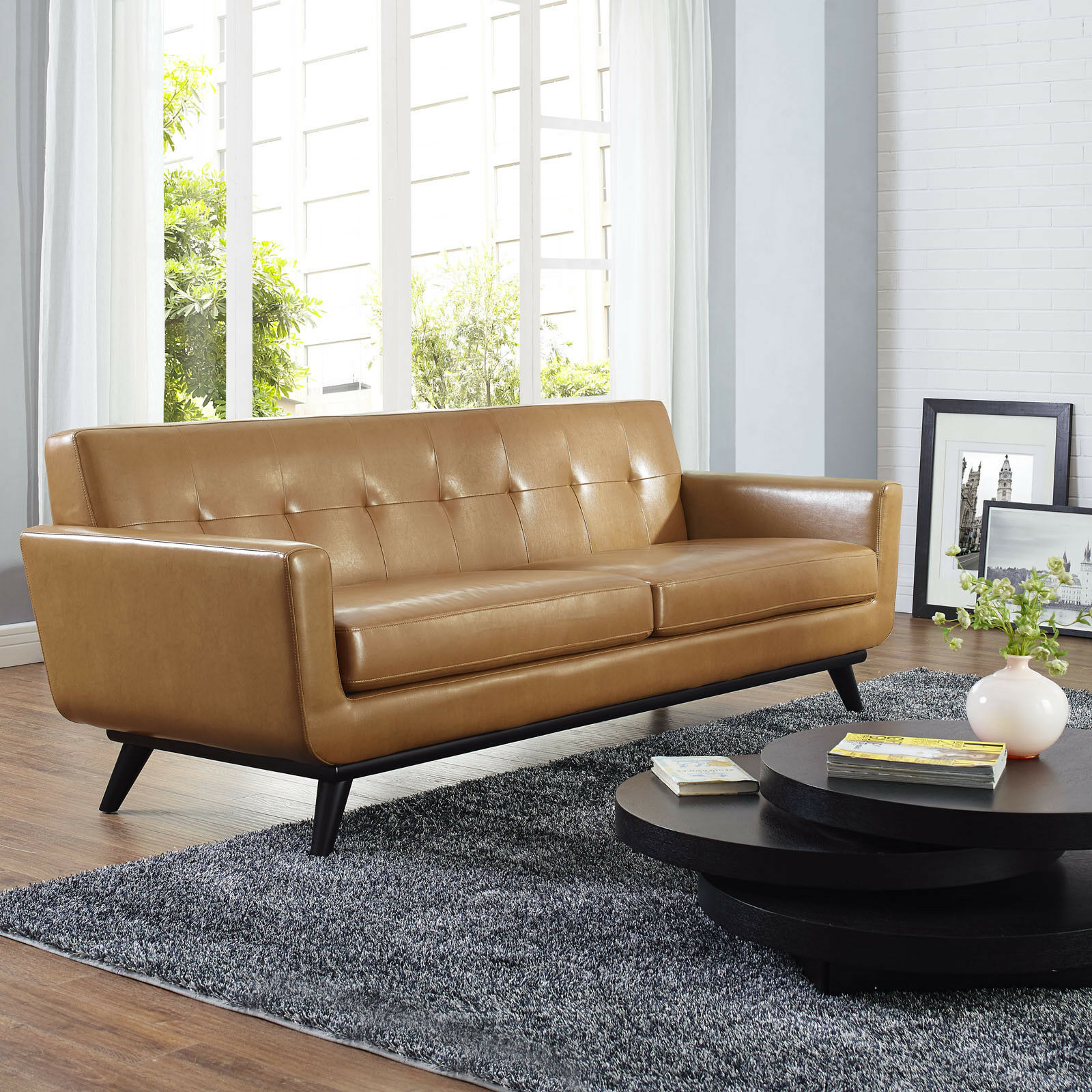 Details About Mid Century Modern Upholstered Leather Living Room Furniture Sofa In Tan