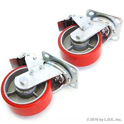2 Red Brake Wheel Caster 5 Wheel All Swivel Heavy Duty Iron Hub No Mark Casters