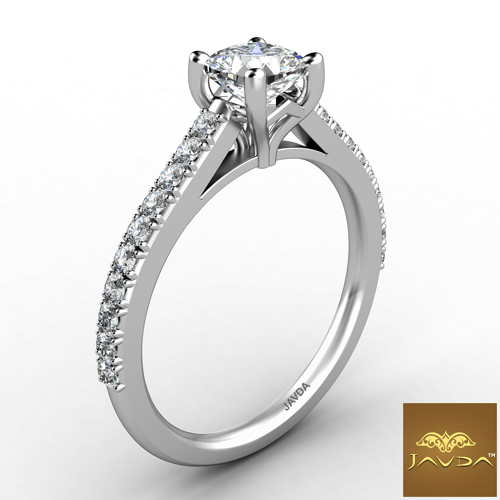 1.01ct Double Prong Setting Cushion Diamond Engagement Ring GIA F-SI1 White Gold 2