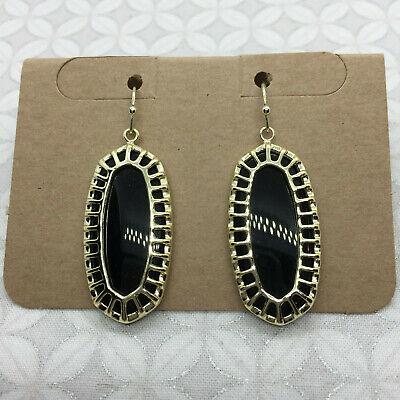 Kendra Scott Dayla Earrings Black Gold drop cage