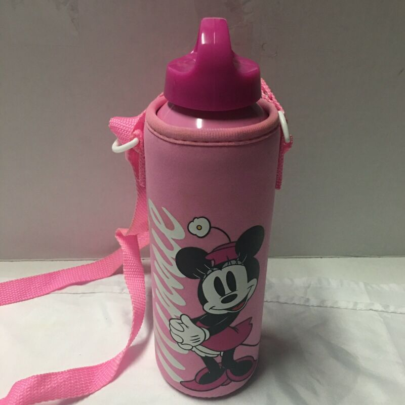 Disney Store Aluminum Water  Botter W/Cover Cross body Minnie Mouse Pink