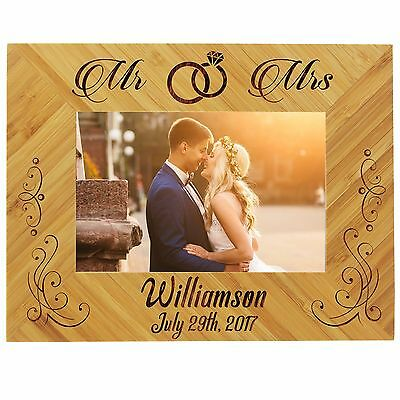 Custom Engraved 4x6 Picture Wedding Frame for Newlywed Couple, Anniversary Gift