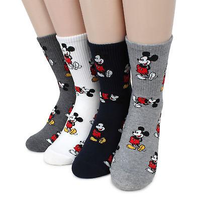 (4 Pairs) Disney Mickey Mouse Crew Socks Women Girls Boys Costume Clothes DM