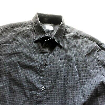 Armani Collezioni Sz XL 17-36 Dark Gray Plaid Men's Dress Shirt