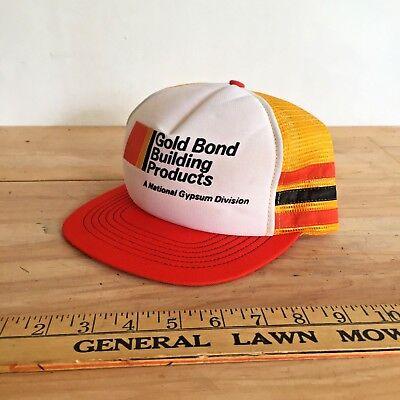 Vintage Trucker Hat with Side stripes - Gold Bond - farm snapback mesh cap