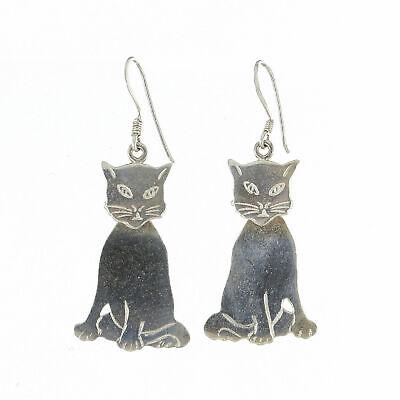 Cat Kitten 2 Part Dangle Sterling Silver Fish Hook Earrings