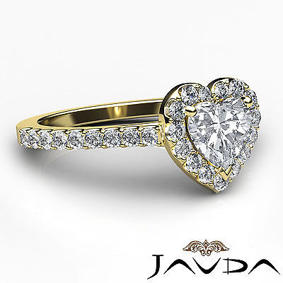Halo French Pave Set Heart Diamond Engagement Wedding Ring GIA F Color VVS2 1Ct 2