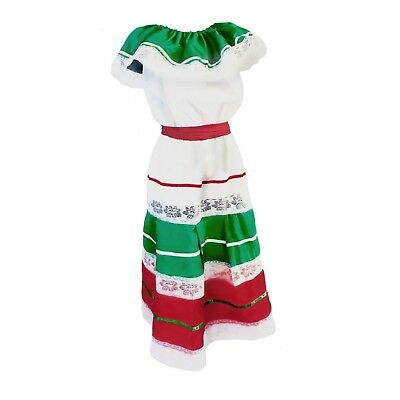 Womens Mexican Fiesta Dress Traditional Cinco de Mayo Dancer White Costume Adult](Cinco De Mayo Costumes For Women)