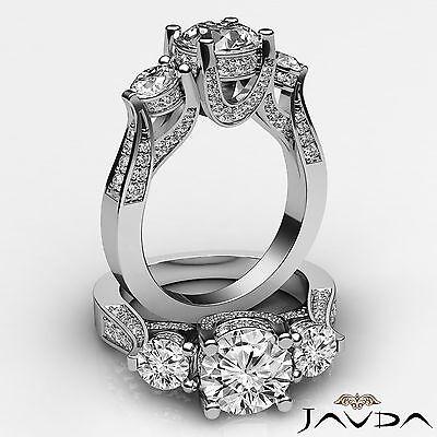 3 Stone Circa Halo Micro Pave Set Round Diamond Engagement Ring GIA F VS2 2.2Ct