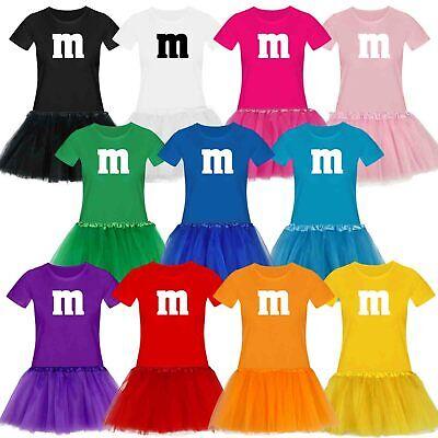 T-Shirt M&M + Tüllrock Karneval Gruppenkostüm Schokolinse 11 Farben Damen XS-3XL