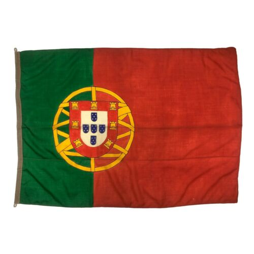 Vintage Wool Hand Painted Flag Portugal Portuguese Cloth Old Nautical