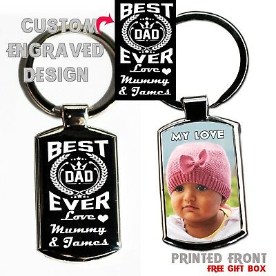 Custom made Fathers Day Metal Keyring Photo Printed/ text Engraving Free Giftbox ()