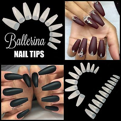 50 x BALLERINA COFFIN *NATURAL* Half Cover Long Nail Tips FAST SHIP!