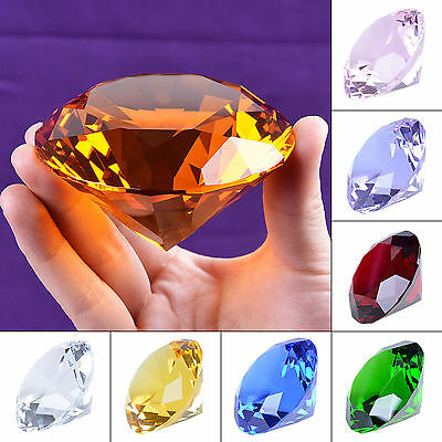 9 Colors Crystal Paperweight Glass Art Giant Diamond Decor Centerpiece 80mm 3.1