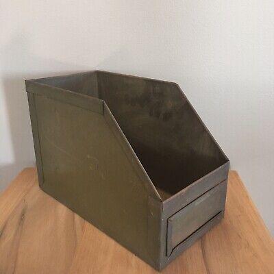 Vintage Metal Nail Tool Bin File Label Industrial Garage Storage