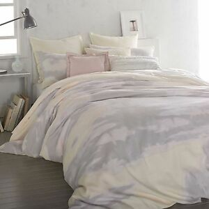 Details about DKNY MIRAGE BUTTER 1 QUEEN DUVET COVER GREY YELLOW ...
