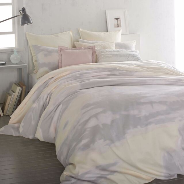 Dkny Mirage Er 1 Twin Duvet Cover Grey Yellow Abstract Watercolors Pastel